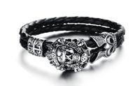 Wholesale Hot Selling Punk Biker Skull Stainless Steel Bracelet Silver Leather Love Bracelets Bangles for Men 3pcs/lot,BC1669