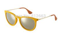Hot Best Quality fashion retro brand name 4171/ 6083/5A erika velvet sunglasses Yellow mirror 54mm glasses free shipping