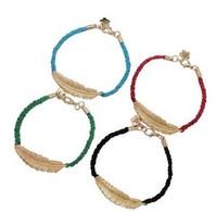2014  New Fashion High Quality Bangle Wide Cuff Opened Gold Metal Leaf Bracelet (140917)