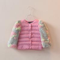2014 children's clothing girls child baby sleeves o-neck wadded jacket child short design gentlewomen outerwear 121207