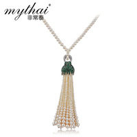 Thai natural Pearl Necklace Joker retro long Leopard luxury high-end necklace custom jewelry