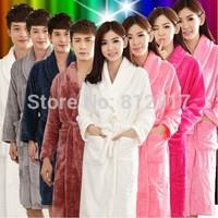 Autumn and winter lengthen Coral fleece robe spa bathrobe ultra soft lounge fleece robe women robe lounge lover sleepwear M-XXL