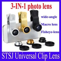 Free Shipping STSJ Universal Clip Lens  3-IN-1 photo lens wide-angle Macro lens Fisheye-lens for phone/sumsong/Laptops,5pcs/lot