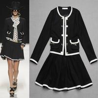 Best Quality!New Fashion Autumn Winter Skirt Suit Women Black White Color Block Hollow Out Wool Jacket +A-Line Skirt(1Set) 2PCS