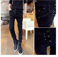 Free shipping Good Quality Promotion  Men's Harem Pants Casual And Fashion Rivet Design Male Black Grey Blue,Size:28-34 #ZJJ106
