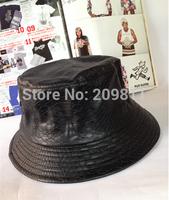 new outdoor Snakeskin bucket hats for men  women hip hop leather fishing hat black