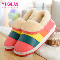 Pu winter slippers derlook male thermal lovers indoor slip-resistant platform slippers at home package with cotton-padded female