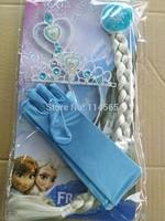 4PCS/set,   Frozen Crown Elsa Cosplay Crown Frozen Tiara Hair Accessories Crown + Wig +Magic Wand frozen hair accessories