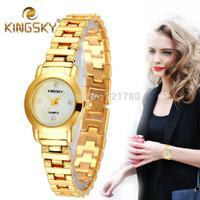 2014 New Diamond Hours Clock Women Dress Watch Ladies Quartz Gold Watch Women Wristwatch Kingsky Brand Women's Fashion Watches