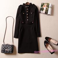 Autumn Brand Formal Black / Deep Blue Golden Button Epaulet Women Cotton Dress, Spring Slim Lady Office Work Career Dresses Y574