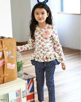 baby girl spring high quality sets: dazzel puff sleeve floral top + polka dot skirt pants, princess fashion sets , Free shipping