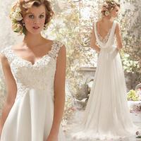Custom Made 2015 New Design A line Backless Sweetheart Lace Bridal Gown vestido de noivas Wedding Dresses Free Shipping