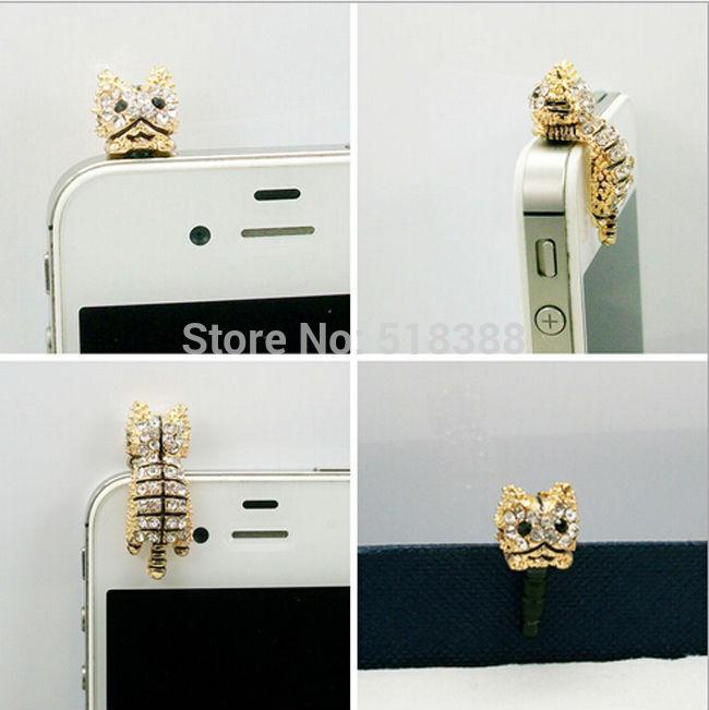 New Style lovely cat dust plug Cartoon Phone Dust Plug animal Dust Plugs rhinestone phone crystal earphones jack(China (Mainland))