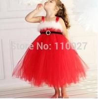 baby Christmas festival dress strap dresses for girl black satin belt white feather red summer dress for girls gorgeous 5pcs/lot