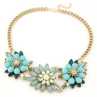 2014 New Fashion Exaggerated Flower Choker Necklace Gold Chain Rhinestone flower Pendant