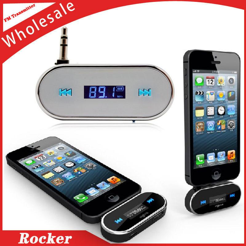 Free Shipping+Multifunctional 3.5mm Audio FM Transmitter For iPhone/iPad/iPod/Smartphone/MP3 (White)(China (Mainland))