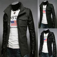 2014 new men's winter coat zipper Slim leather sleeve men's clothing men's fashion coat H757