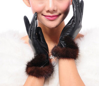 Fashion New Women's Genuine Sheepskin Leather Mink Fur Warm Winter Gloves F156
