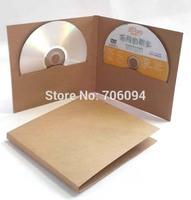14.5x13.5cm  High quality  2pieces CD sleeve thick Brown Kraft CD/DVD paper bag cd packaging bag  50pcs/lot