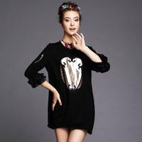 S-5XL Brand Elegant Black Hollow Out three quarter Sleeve Cotton Casual Dresses Autumn Winter Fashion Plus Size Women Clothing
