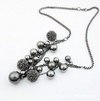 Min order 15$ (Mixed order) Women Party Dress Europe Star Vintage Black Glamour Steel Ball Beads Lady Costume Sweater Necklace