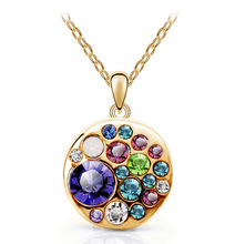New Arrival 18K Gold Plated Crystal Simulated Diamond korean Fashion Jewelry multicolor Round Necklace Pendants for