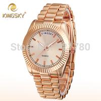 2014 New Fashion Rose Gold Watch Women Steel Bracelet Quartz Watch Ladies Casual Watches Brand Kingsky Women Wristwatch