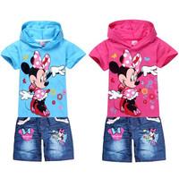 Summer dress new children's suits, cartoon pictures girl suits, girls short sleeve t shirt jeans set