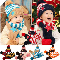Baby Winter Hats And Scarfs Set 5-Star Children Boys Girls kids Gift Warm Knitted Caps Neckerchief For 5-36 Month RY019