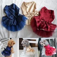 Dog Puppy Wedding Party Lace Skirt Clothes Bow Tutu Princess Dress Pet Apparel