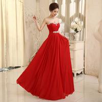 Sexy Women's Rhinestone Tube top Floor-length Red bandage Chiffon Evening dress Prom party Dresses
