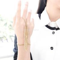 New 2015 Women's Gold Multi-layer Tassel Chain Slave Harness Cuff Bracelet Free Shipping