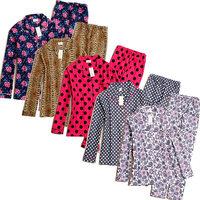 Set cotton flannel women's 100% cotton flannelet sleepwear lounge set female