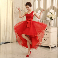 New fashion 2015 Women's flowers one shoulder Big Bowknot bandage Low-high Evening dress Prom
