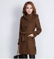 Wool tweed coat female Korean 2014 autumn and winter coat Coffee new woolen coat color female