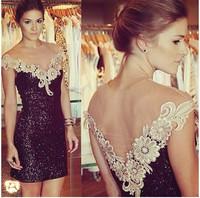 vestidos 2014 women dress hot ladies sexy slim lace dress sequin bud silk organza splice casual dress vestido de festa