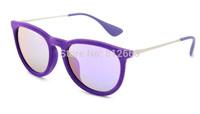 Hot Best Quality fashion retro brand name 4171/6080/4V erika velvet sunglasses Purple mirror 54mm glasses free shipping