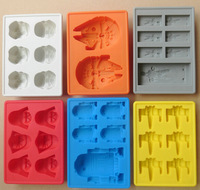 Free Shipping 6pc Star Wars Darth Vader Storm Trooper R2D2 Falcon X-Wing Hans Solo Silicone Mold Ice Cube Tray Chocolate Fondant