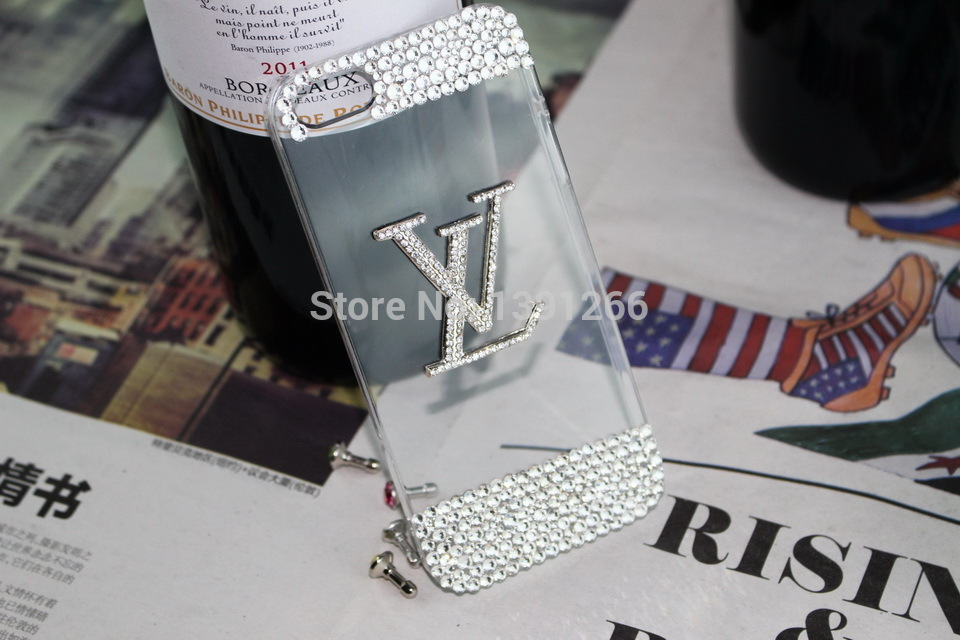 Luxury Famous Brand 3D Style Rhinestone Crystal Back Case For Crystal iPhone 4 4s 5 5s With Screen Protector and Free Gift(China (Mainland))