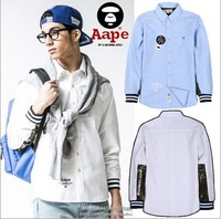 HOT sale free shipping MiMiHoo 2014 bape men's casual fashion personality camouflagecotton long-sleeved solid color T-shirt