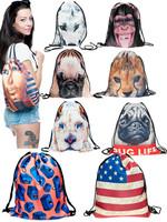 3D backpack Fashion animal Print Casual women backpack travel bag bolsas women man sport bag drawstring bag unisex backpacks