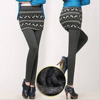 2015 New Winter Warm Skirt Leggings For Women Thick Thermal Cotton Skirt Christmas Leggings Warm Pants  Size S-4XL A285