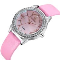 Design! SKONE Luxury Women Genuine Leather Strap Watches With Rhinestone Women Dress Wristwatches Japan Quartz