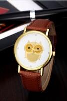 Women Girl Cute Owl Rhinestone Style Dial Leather Strap Analog Casual Quartz Wrist Watches