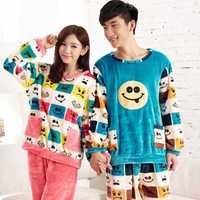 autumn and winter flannel pajamas male/female emoji cartoon long sleeve fleece coral velvet suit tracksuit emoji clothes