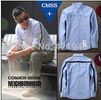 free shipping on sale MiMiHoo 2014 new winter clothes BAPE male striped shirt long-sleeved shirt shirt pockets T-shirt wholesale