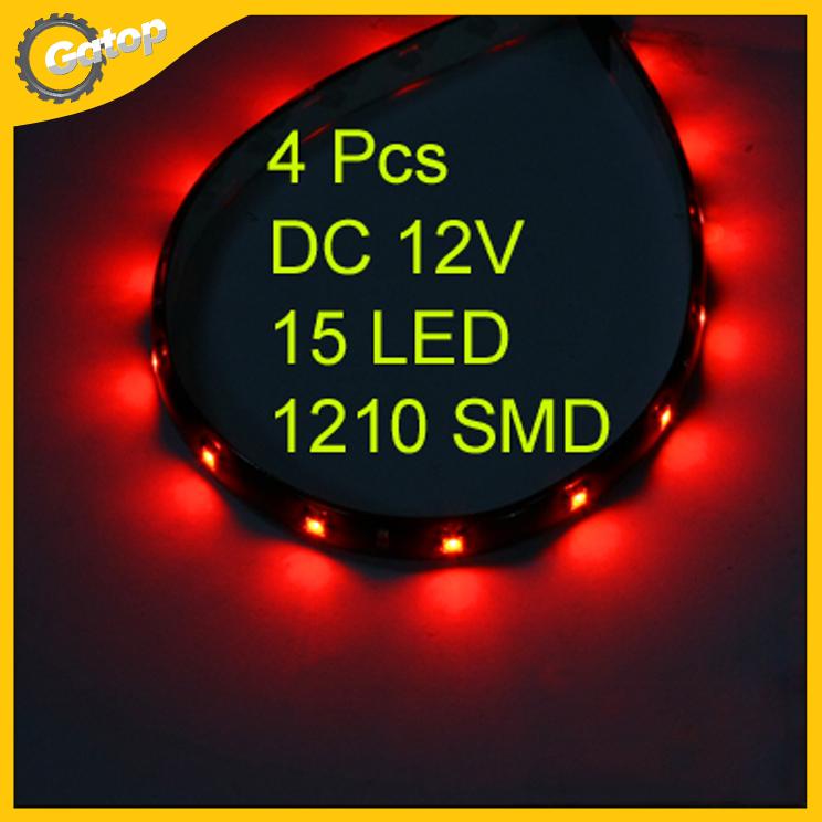 4 x 30cm Waterproof 15 3528 SMD Flexible LED Light Lamp Strip Red DC 12V internal(China (Mainland))