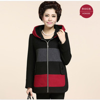 Quinquagenarian women's autumn and winter three-color print woolen outerwear