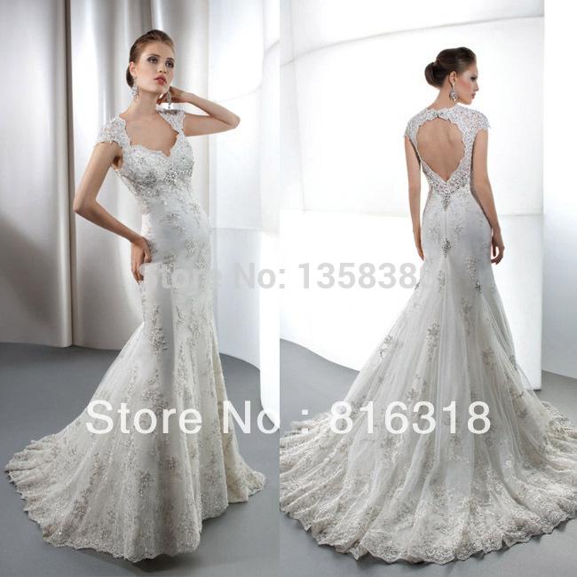 2015Vestido De Noiva 2015 White Open Back Lace Mermaid Wedding Dress Wedding Sarees Unique Wedding Dresses Vestido De Casamento(China (Mainland))