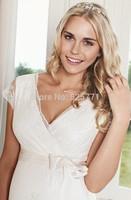 Sexy V Neck A Line Maternity Wedding Dresses 2015 Backless Lace Woman Bridal Gowns vestido de noivas